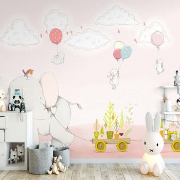پوستر دیواری کودک فیل گل فروش مدل BKW032-1