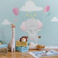 پوستر دیواری کودک فیل و بالون بادکنکی مدل BKW018-1