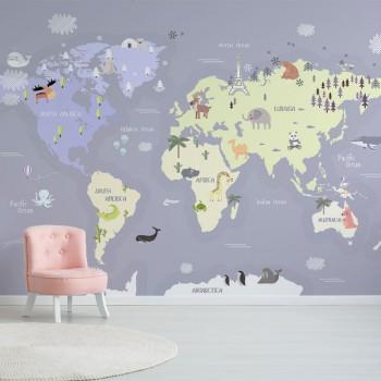 پوستر دیواری کودک نقشه فانتزی مدل BKW006-1