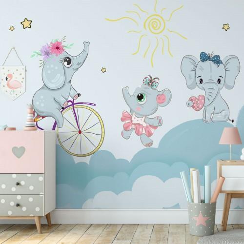 پوستر دیواری کودک فیل های بازیگوش مدل BKW011-1