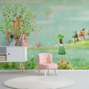 پوستر دیواری کودک دختر مزرعه دار مدل BKW081-1