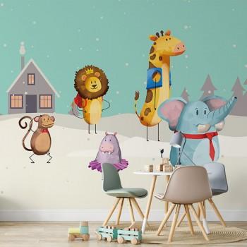پوستر دیواری کودک مهمانی حیوانات مدل BKW079-1