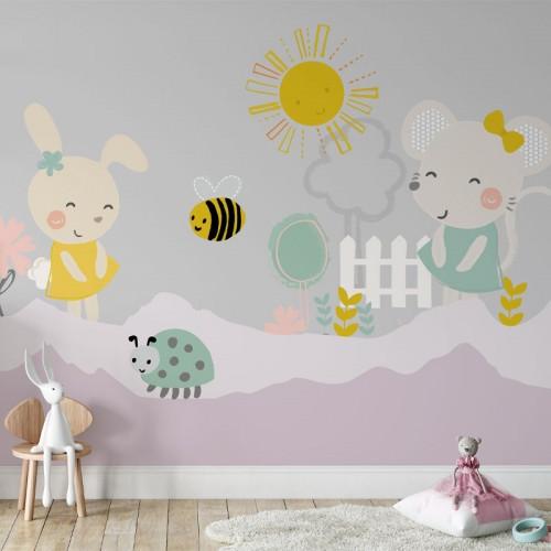 پوستر دیواری کودک موش و خرگوش مدل BKW062-1