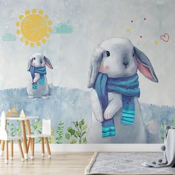 پوستر دیواری کودک سفر زمستانی خرگوش ها مدل BKW098-1