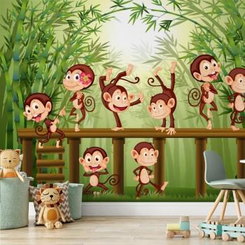 پوستر دیواری کودک جنگل میمون ها مدل BKW113-1