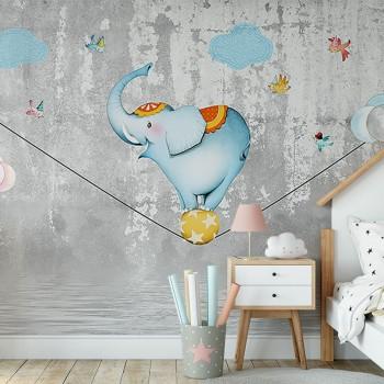 پوستر دیواری کودک فیل بندباز مدل BKW161-1