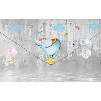 پوستر دیواری کودک فیل بندباز مدل BKW161-2