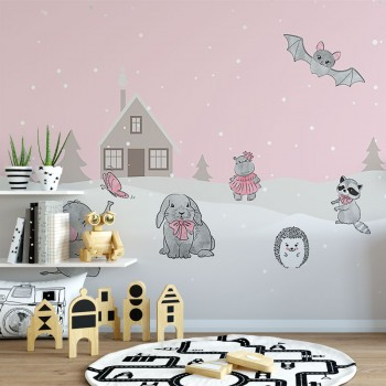 پوستر دیواری کودک بازی در روز برفی مدل BKW110-1