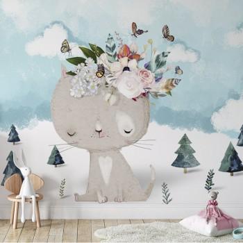 پوستر دیواری کودک گربه گل فروش مدل BKW112-1