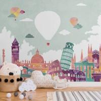 پوستر دیواری کودک بالن های پرنده مدل BKW076-1