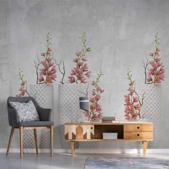 پوستر سه بعدی گلهای صورتی مدل BCW019-1